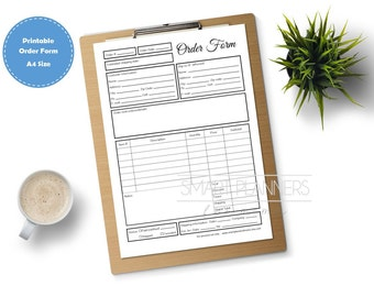 Order form, printable. Planner insert. Order form for binder. A4 Size, Small business. Order tracking template. PDF, Instant download
