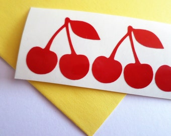 25 Cherry sticker Cherry decal Vinyl Wall Stickers Food packaging Scrapbooking stickers Envelope seal Party Cup Stickers Red cherries