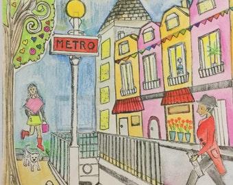 Handpainted Parisian street scene