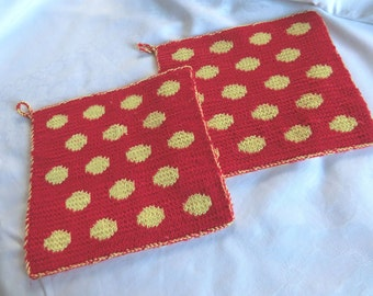 Pot holder – full score, DOT, 2 coloured by hand knitted in double-face technology in 100% cotton