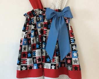 Patriotic Toddler Curtain Dress - Detachable Bow - Metallic Touches to Fabric