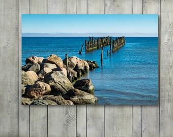 Seaside Photography, Blue Wall Art Breakwater Prints Large Canvas Wall Art Prints, Sea Birds and Seaside Canvas