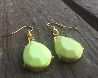 Handmade gold and neon yellow dangle French hook earrings