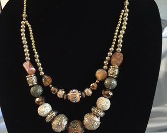 Handmade Double Strand beaded necklace/Earth colors