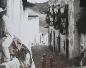 Antique 1920's Real Photo Postcard Post Card Mexico RPPC  Fot Onte Burrow Taxco Black & White image
