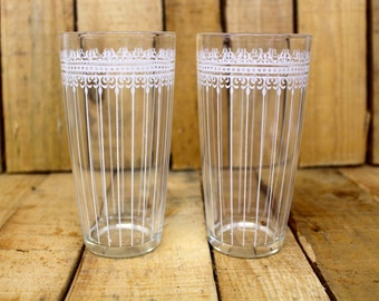 Set of 2 {Vintage} Juice Glasses - Painted White - Retro Design - 1950s