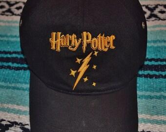 Vintage 90s Harry Potter Warner Bros JK Rowling Lightning Bolt Scar Strap Back Baseball Hat