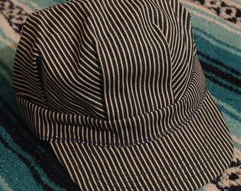 Vintage 80s 90s Made in USA Steampunk Train Conductor Pin Stripe Hat