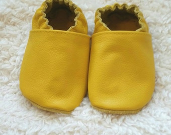 Yellow baby shoes, yellow toddler shoes, soft sole shoes, yellow infant shoes, leather baby shoes, baby shoes girl, baby shoes boy
