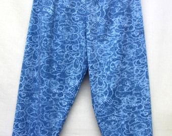 Vintage Blue Printed 3/4 Leggings