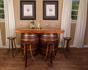 1003 Wine Barrel Bar Island Set with 2 Wine Barrel Cabinets and 4 Stools
