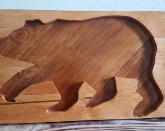 Wooden Bear Silhouette Cut Out