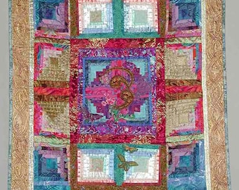 Wall Hanging Quilted In Turquoise, Blue, Bright Pinks, Coral and Purples Colors
