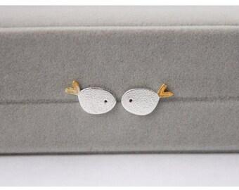 925 Sterling Silver earrings handmade fish