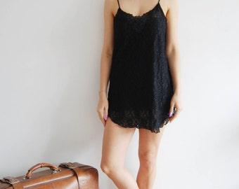 Vintage 90s Black Lace Sequin Slip Dress - UK 16