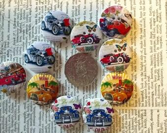 10 Vintage Car Buttons
