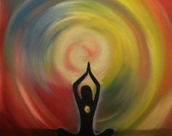 Prayer- meditation-abstract oil painting Free Shipping inside USA