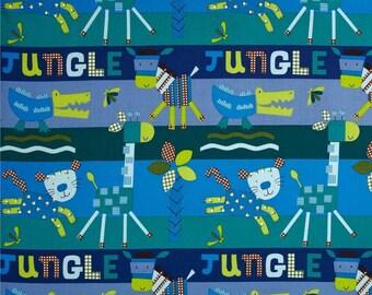 "Nursery Fabric : New Gingham Jungle Animals Fabric PINK - Giraffe, Elephant, Lion, Crocodile 100% cotton fabric by the yard 36""x44"" (A188)"