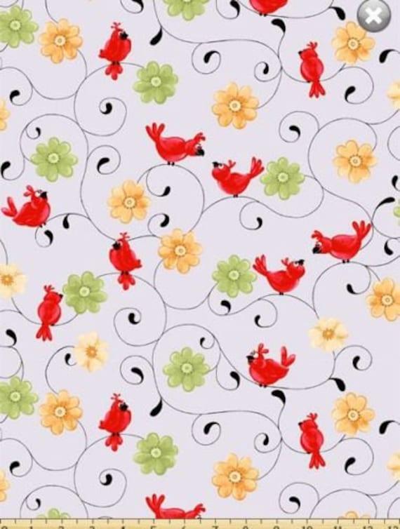Susybee fabric nursery fabric bird floral swirl fabric for Bird nursery fabric