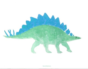 Dinosaur (green and blue), A4 print
