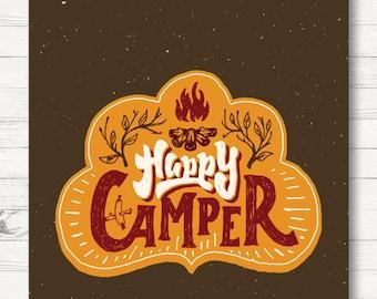 Happy Camper Flag, Personalized Garden Flag, Campfire, Camping, Fire, Orange, Brown, Garden Flag, Large Flag