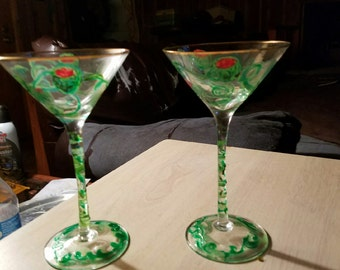 Hand Painted Martini Glasses