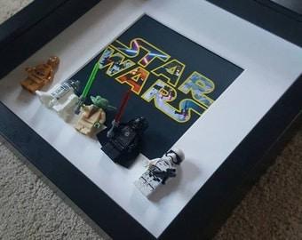 Darth Vader Stormtrooper Yoda C3PO R2D2 Star Wars Lego Minifigures 3D Frame custom made to order Brick Figure Art, Framed Gift
