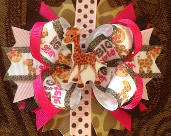 Big Sister Hair bow,Hair bows, Boutique Hair bows, Layered Hair bows, Stacked Hair bows,Giraffe, sisters