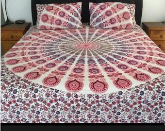 King & Queen Size Pink Quilt Doona Duvet Cover Mandala Reversible 2 Pillow Cases