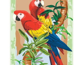 Paint by Number -Junior-Bamboo & Parrots