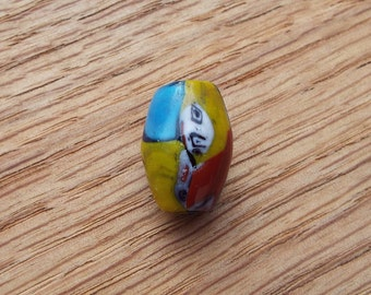 Multi-Colored Lampworked Focal Bead 18.5 x 13 mm