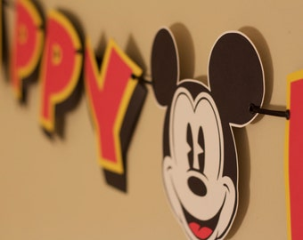 Mickey Mouse Banner - Happy Birthday - Vintage