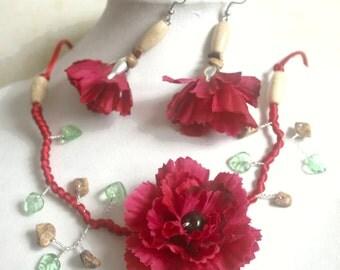 Red Garnet adornment branch fleurie.