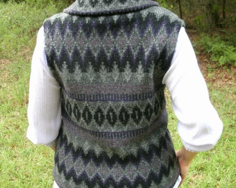 Vintage 100% Wool Sweater Vest, Shawl Collar