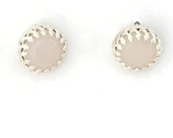 Pale pink and sterling silver post earrings