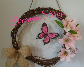 Rustic Butterfly Dream Catcher