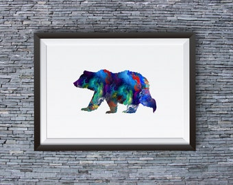 Colorful Bear Print - Art Poster  - Animal Illustration - Wall Art - Home Decor
