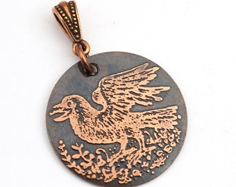 Etched copper crow pendant, round flat copper etched jewelry, Cynthia Thornton design, optional necklace, 28mm