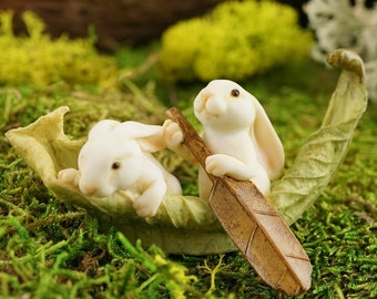 Miniature Dollhouse FAIRY GARDEN ~ Rabbits Rowing Leaf Boat  ~ NEW