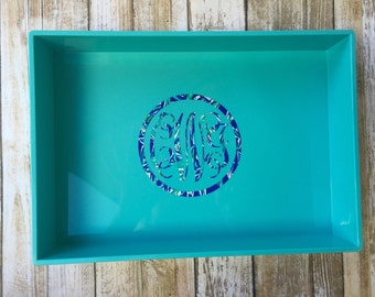 Catch All Tray with Lilly Pulitzer Inspired Monogram Personalized Jewelry Tray  Desk Organizer Monogram Catch All Tray