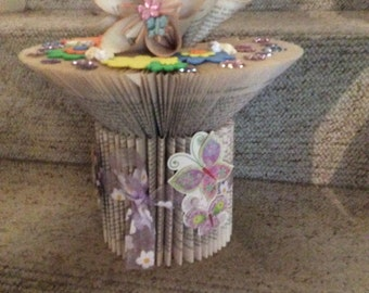 Book folding vase and flowers