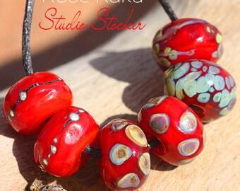 Rose Raku Organics glass lampwork beads handmade for Jewelry Design
