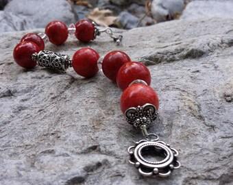 Red Coral, Clear Quartz ( Rock Crystal ), .925 Sterling Silver, Bracelet