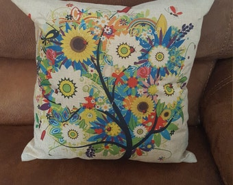 Cream flower print cushion cover