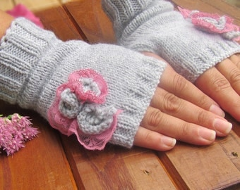 Knit Fingerless gloves, hand knitted gloves, knitted gloves, knitted mitts,  gloves, hand knitted mittens, Gift idea, cable knit gloves