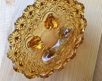 DAISY and BUTTON Amber glass bowl