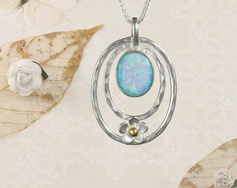 Blue Opal and Silver Flower Pendant