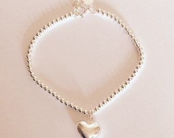 Sterling silver puffed heart and ball chain bracelet/handmade/solid silver