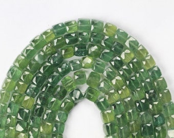 8 inch long strand faceted APATITE cube beads 6.5 -- 8 mm