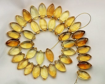39 piece smooth CITRINE marquise beads 15.5 x 8 mm